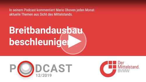 In seinem monatlichen Podcast fordert Mittelstandspräsident Mario Ohoven einen Ausbau des Breitbandnetzes.
