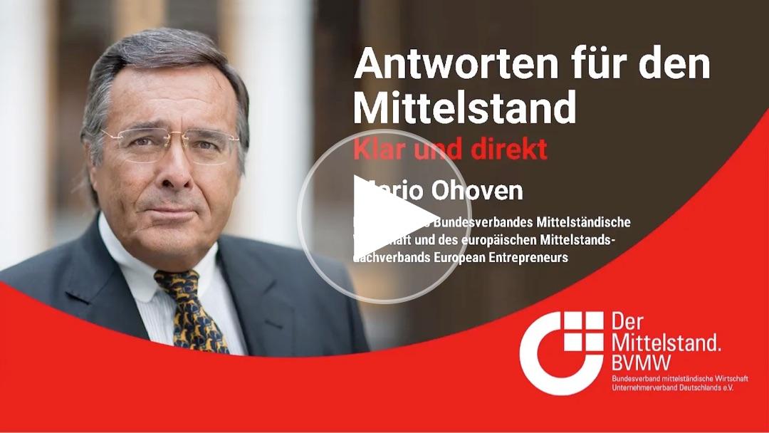 Mittelstandspräsident Mario Ohoven äußert sich zur deutschen EU-Ratspräsidentschaft und den verschiedenen Konjunkturprogrammen.