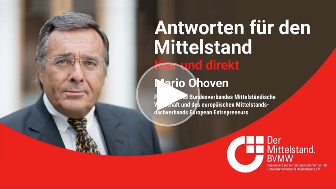 Mittelstandspräsident Mario Ohoven äußert sich zur temporären Mehrwertsteuersenkung und über die Risiken eines zweiten Lockdowns.