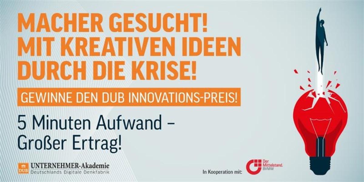 Bewerben Sie sich bis zum 8. Oktober 2020 auf den DUB Innovationspreis 2020.