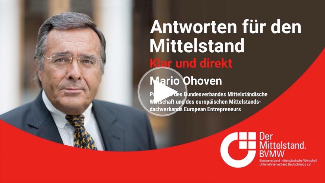 Mittelstandspräsident Mario Ohoven spricht über den aktuellen Brandbrief des BVMW im FOCUS und die Gefahren eines zweiten Lockdowns.