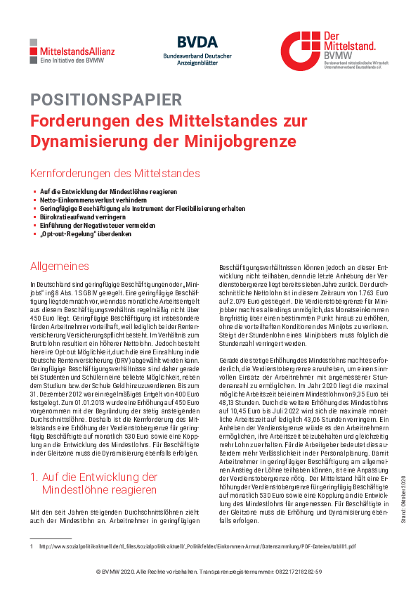 positionspapier minijobgrenze
