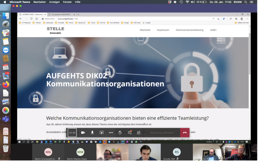 Screenshot der Digitalkonferenz des BVMW Soest zum Thema Homeoffice